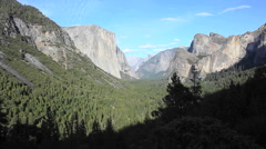 Yosemite valley with Half Dome visible in the background Stock Footage