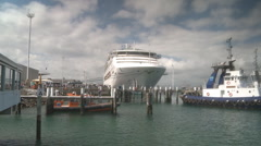 Cruise ship front on at berth Stock Footage
