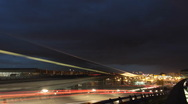 Night Traffic at Charles de Gaulle Airport, France Stock Footage
