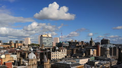 Glasgow Skyline Time lapse UK Aerial View from The Lighthouse, Cityscape, Sunny - stock footage