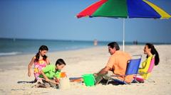 Family Beach Fun Time - stock footage