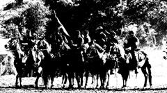 Civilwar shootout from horseback Stock Footage