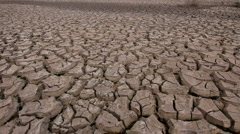 Man Runs On Dry Cracked Mud  Stock Footage