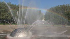 Millenium Fountain Seattle with rainbow, United States Stock Footage