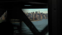 View of the New York skyline as seen from a passenger entering the city by Stock Footage