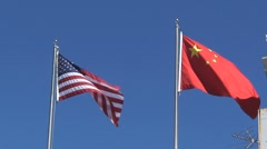 American and chinees flag San Francisco - stock footage