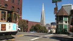 Transamerican Pyramid Cable car San Francisco Stock Footage