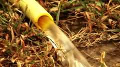 Water flowing from hosepipe on to dried out grass 3 Stock Footage