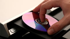 DVD player. Disk installation - stock footage