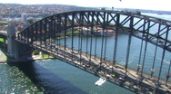 Stock Video Footage of Sydney Harbour Bridge Aerial Shot 2