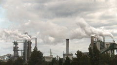 Pulp mill chimney stacks 2 Stock Footage