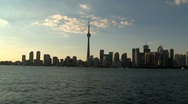 Stock Video Footage of Skyline Toronto evening, Canada