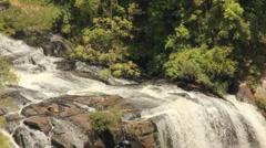 Beautiful Brazilian waterfall close, top version Stock Footage