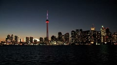 Skyline, CN Tower at night, Toronto, Canada Stock Footage