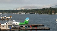 Float plane arriving in harbor Vancouver, british columbia, Canada Stock Footage