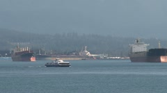 Stock Video Footage of Cruiseship in harbor Vancouver,british columbia, Canada