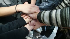 Young male hands folded on one another showing friendship Stock Footage