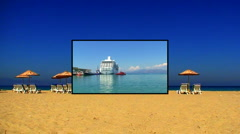 Sunloungers on a sandy beach with clear blue sky montage 8 Stock Footage