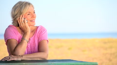 Senior Lady Talking on Cell Phone Stock Footage