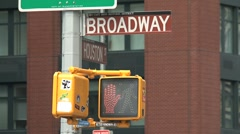 Stock Video Footage of Traffic light broadway New York City