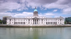 View across Liffey River on southern facade of Custom House in Dublin Stock Footage