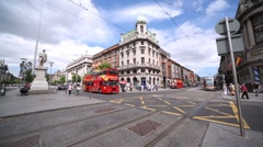 Square in front of marble statue of John Gray situated on O'Connell Street Stock Footage