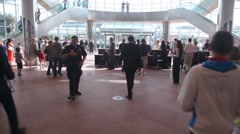 People moves inside Convention Centre in Dublin during evacuation training in Stock Footage