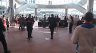 Stock Video Footage of people moves inside Convention Centre in Dublin during evacuation training in