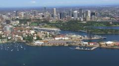 Sydney Skyline Harbour Aerial Stock Footage