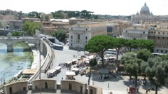 Top down view on square near beautiful Sant'Angelo Castel in Rome Stock Footage