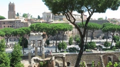 View on ancient villa district called Domus area in Rome Stock Footage
