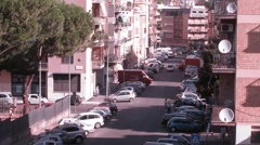 Heavy vehicle traffic at some street of Rome at day Stock Footage