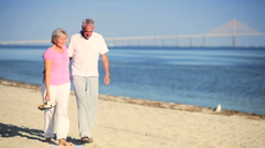 Contented Seniors Walking the Beach  - stock footage