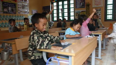 SCHOOL CLASSROOM CHILDREN EDUCATION Learning Child Teacher, Vietnam 2009 - stock footage