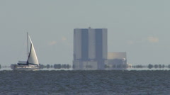 Sail Boat Near NASA's Kennedy Space Center Stock Footage