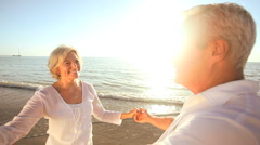 Seniors Romantic Beach Dancing Stock Footage
