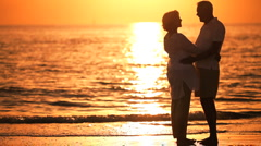 Contented Senior Couple at Sunset Stock Footage