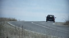 Single car on the road 2 Stock Footage
