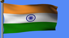 Flag of india on pole Stock Footage