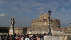 Static total shot of Castel Sant'Angelo, Rome, Italy Stock Footage