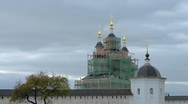 Stock Video Footage of Clouds Over the Restored Monastery Church