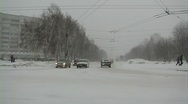 Stock Video Footage of Winter. Crossroads, the movement of vehicles.