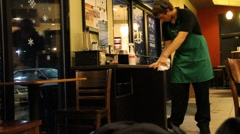 Coffee Shop Employee Cleaning Stock Footage