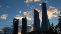 Madrid. Four Skyscraper. timelapse Stock Footage