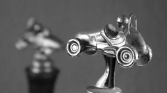 Race Car trophies in Black and White Stock Footage