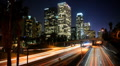 Los Angeles Skyline, Highway Traffic, Aerial City Night LA Downtown, Time Lapse Footage