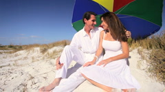 Sun Protection on the Beach Stock Footage
