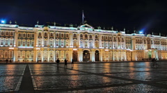 Night at the Palace Square, St. Petersburg, Russia Stock Footage