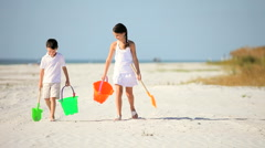 Happy Healthy Childhood Beach Fun Stock Footage