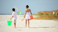 Childhood Fun at the Beach Stock Footage
